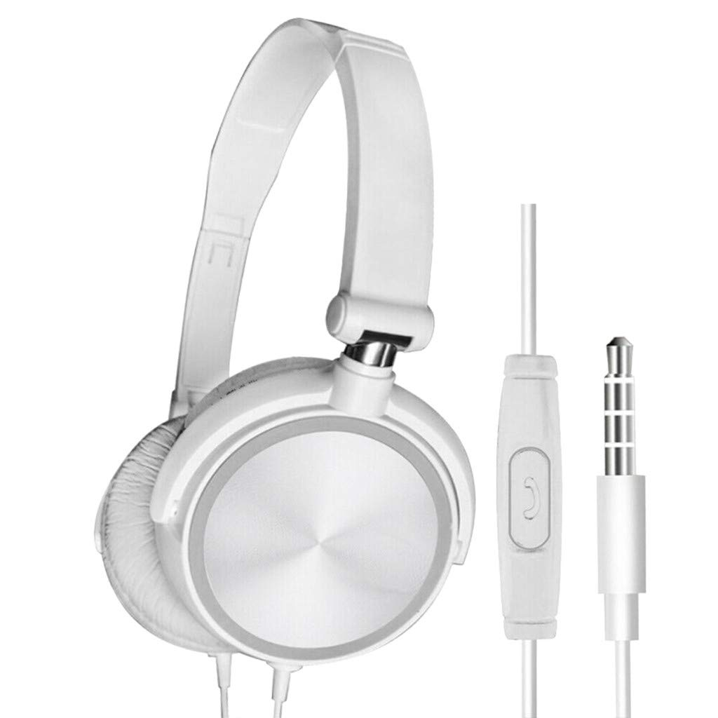JIDSFIE DJ Bass Headphone Headset with Mic 3.5mm Wired Over Ear Stereo Earphone Foldable Foldable Lightweight Headphones with Mic for Recording Monitoring Podcast Guitar PC TV (White)