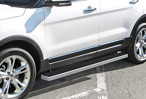 APS iBoard (Silver 5 inches) Running Boards | Nerf Bars | Side Steps | Step Rails for 2011-2019 Ford Explorer Sport Utility 4-Door