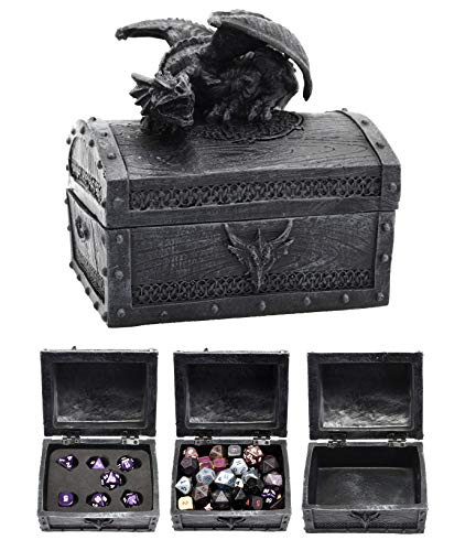 Forged Dice Co. Deluxe Dragon Dice Storage Box with Custom Dice Foam Insert - Container Holds up to 6 Sets of Polyhedral Dice or 42 Individual -