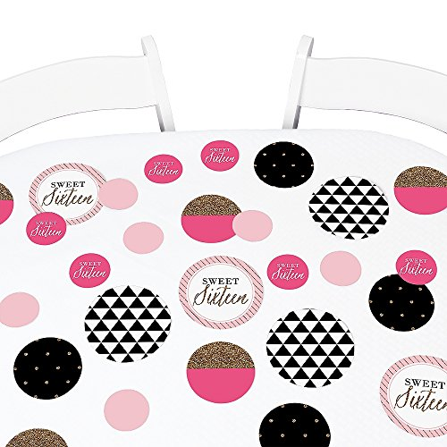 Big Dot of Happiness Chic 16th Birthday - Pink, Black and Gold - Birthday Party Giant Circle Confetti - Birthday Party Decorations - Large Confetti 27 Count