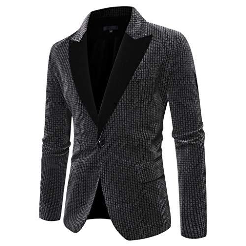 Houshelp Men's Suit Elegant Solid One Button Slim Fit Single Breasted Party Blazer Business Wedding Party Jacket Gray (The Man In The Gray Flannel Suit Novel)