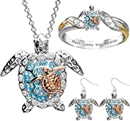 Mom Gifts Sea Turtle Women's Jewelry Sets,2 Earrings,Ring,Pendant Necklace Earrings Jewelry,Turtle Necklac
