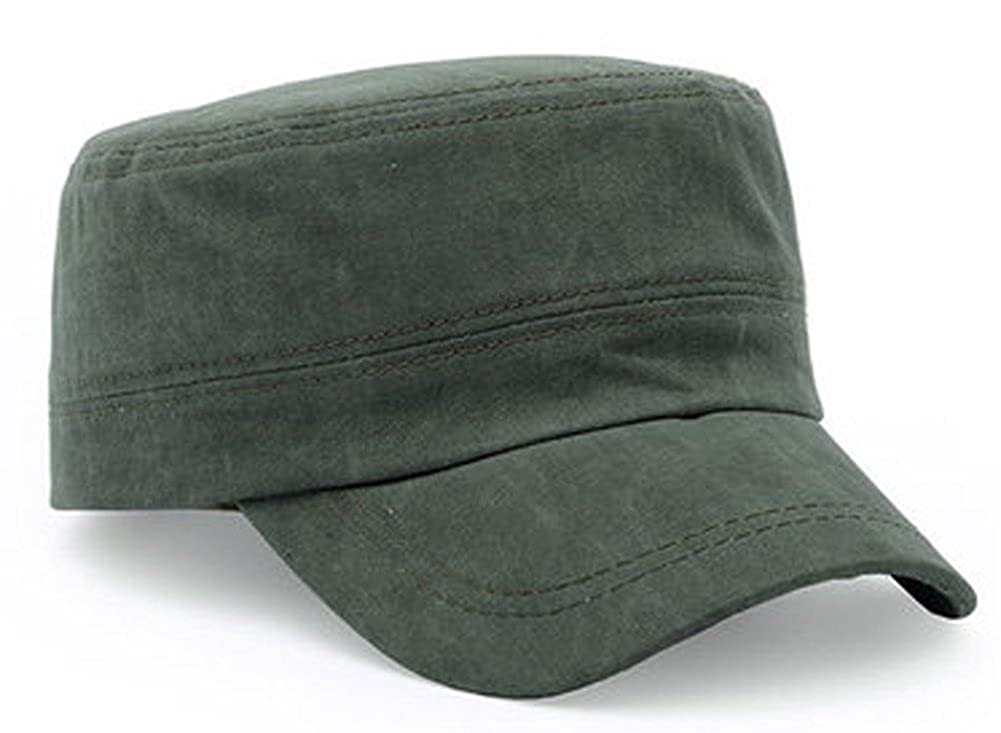 ChezAbbey Solid Brim Flat Top Cap Army Cadet Classical Style Military Hat Peaked Cap