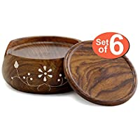 SouvNear COMINHKPR73530 Set & Holder-Handmade Wood 6 Round Coasters and Wooden Holder-Table Top Accessories, one size, Brown
