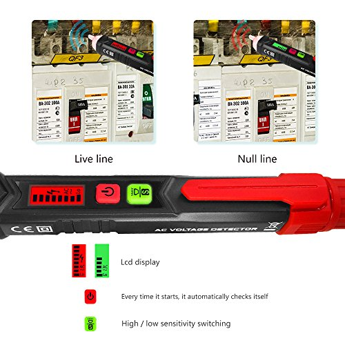 Non Contact Voltage Tester, Protmex AC Voltage Detector, Sensitivity adjustable Electrical Tools Pen Type Circuit Testers Auto Power-off Sound And LED Alarmed AC 12-1000V Test Pencil With Flashlight by Protmex (Image #4)