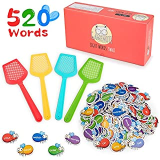 Gamenote Sight Word Swat Game - 520 Dolch Fry Site Words with 4 Fly Swatters from Pre K to 3rd Grade Educational Learning Games for Kindergarten Classroom (Upgraded Version)