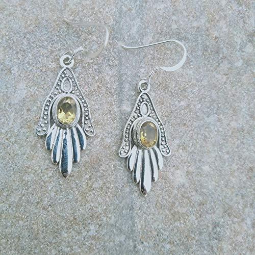 Handmade Designer Antiqued Silver Earrings For Wedding Gift Idea Natural Citrine Oval Gemstone Solid 925 Sterling Silver Earrings For Women