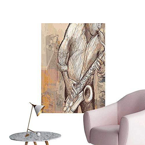 Wall Decorative Jazz Musician Playing The Saxophone Solo in The Street on Background Pictures Wall Art Painting,12
