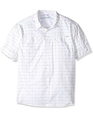 Men's Big-Tall Silver Ridge Plaid Long Sleeve Shirt, White Dobby, 3XT