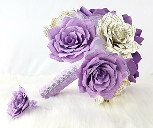Lavender paper book page wedding bouquet