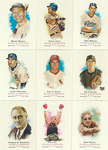 2007 Topps Allen and Ginter Series MLB Baseball and Historical Figures Complete Mint 350 Card Set with Shortprints from Topps