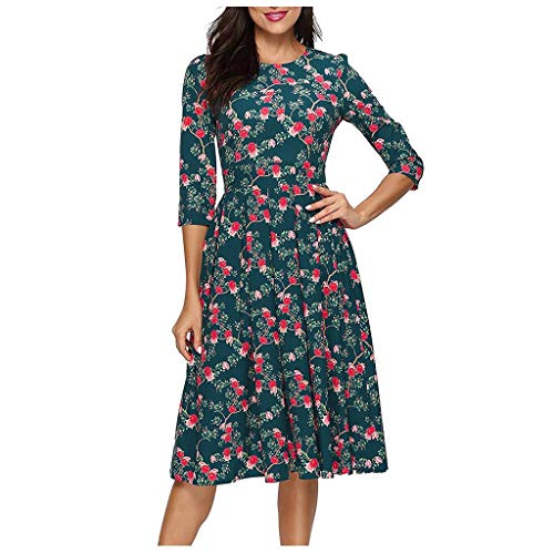 Holiday Park Halloween Party (Women's Vintage Floral Printed 3/4 Sleeves Dress Casual Elegant Dress Large Size Dress for Holiday Party)