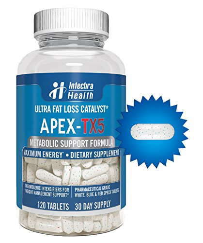 APEX TX5 Ultra Fat Loss Catalysts 120 Tablets For Maximum Energy and Weight Management Control White Blue Red Speck Tablet Dietary Supplement Manufactured in USA