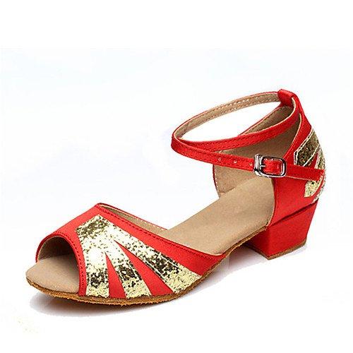 de Cuero Baile Q Zapatos sintético Niñas Grueso Rojo T para para Mujer Tacón rojo T tRwUxqcS