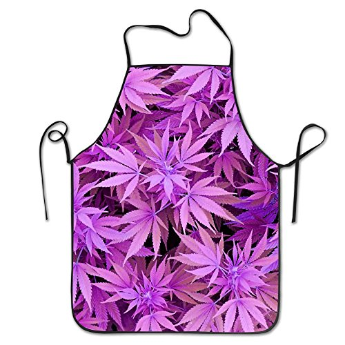 Unisex Weed Cannabis Cooking Chef Kitchen Aprons With Adjustable Bib Black.