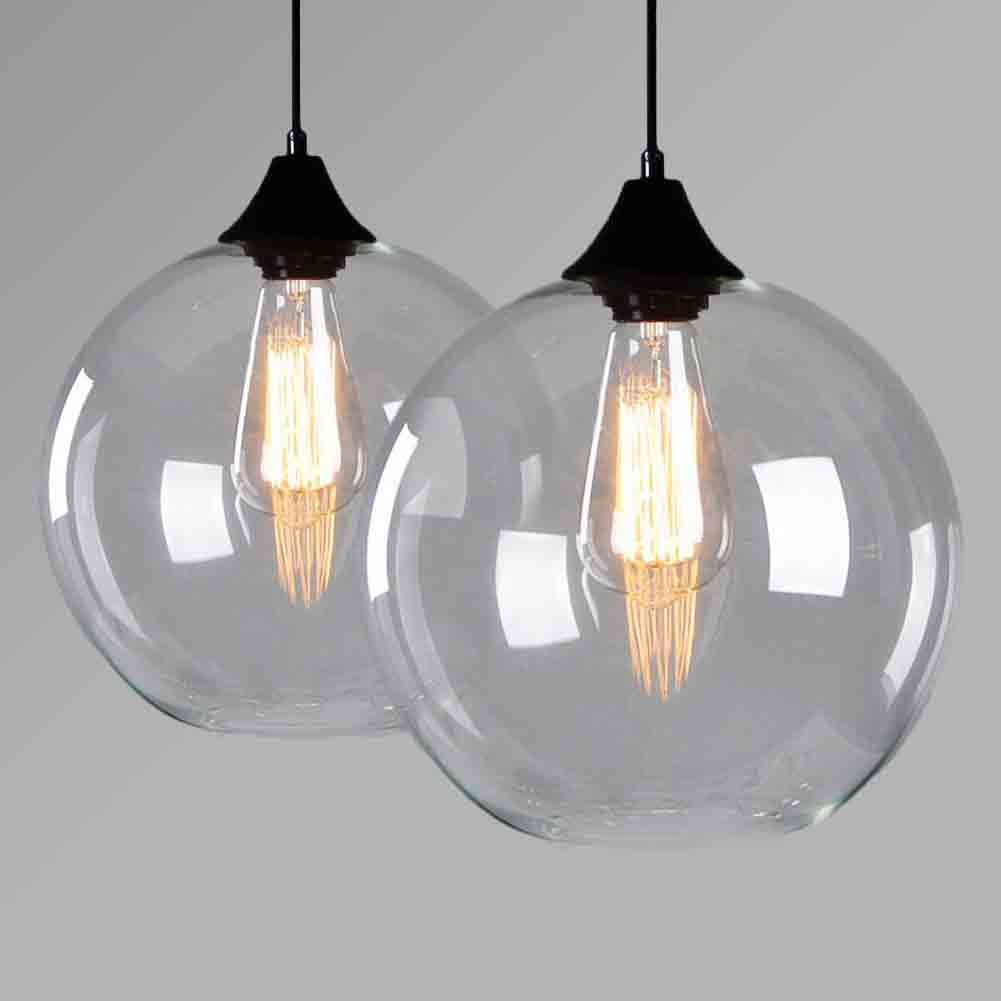 Lampspark clear globe glass chandeliers vintage retro pendant light lighting fixtures lamps amazon co uk lighting