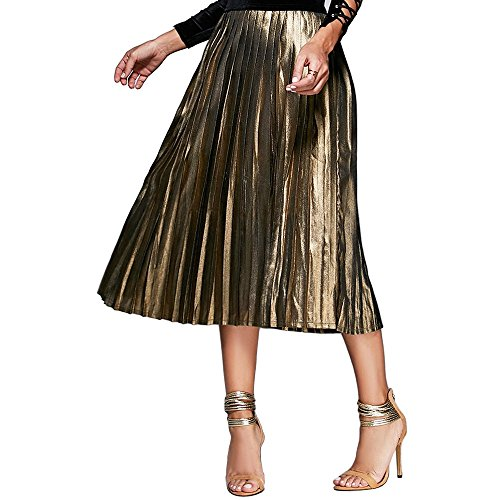 DEZZAL Women's High Waist A-line Metallic Sparkle Pleated Midi Skirt(M)