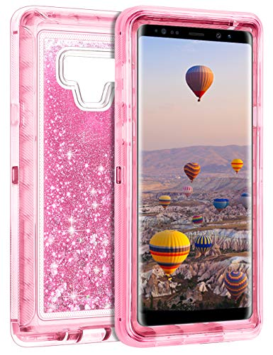 Coolden Galaxy Note 9 Case, Luxury Floating Glitter Case Sparkle Bling Quicksand Liquid Cover Clear Heavy Duty Bumper Dual Layer Anti-Drop PC Frame & TPU Back Samsung Galaxy Note 9, Pink