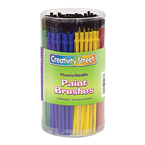 Creativity Street CK-5173BN Plastic Handle Brush Classroom Pack, Economy Brushes, 7