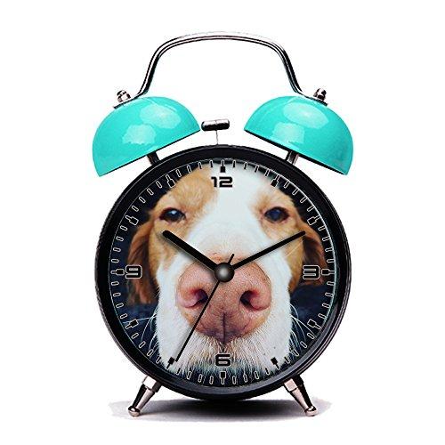 GIRLSIGHT Blue Alarm Clock, Retro Portable Twin Bell