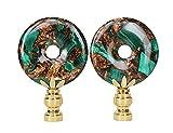 Malachite Lollipop Lamp Finials, A Matching Pair