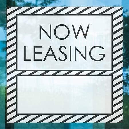 Now Leasing Nostalgia Stripes Window Cling 36x24 CGSignLab