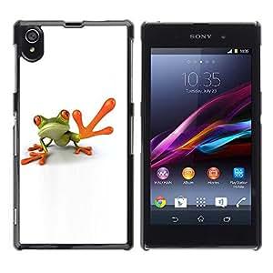 Be Good Phone Accessory // Dura Cáscara cubierta Protectora Caso Carcasa Funda de Protección para Sony Xperia Z1 L39 C6902 C6903 C6906 C6916 C6943 // Man Frog High Five White Minima