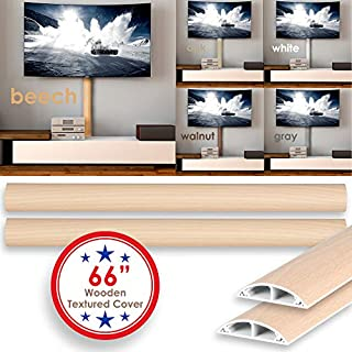 TV Cord Cover Wall Floor Cable Raceway Natural Walnut Cable Concealer Cable Management Wire Hider Kit for 4 Cables Organizer Self Adhesive Channel 50x12 mm Total Length 66 Inches