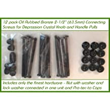 12 pack Oil Rubbed Bronze Premium Hardware for your Antique (or Replicas) Crystal or Glass Cabinet Knob or handle Pulls. A great upgrade to secure and improve them. mproved fasteners: 8-32 hex nut and flange with lock washer in one unit (2-1/2 inch)