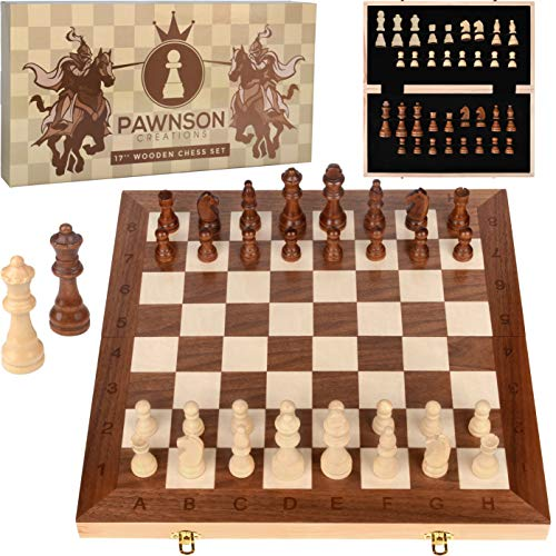 Wooden Chess Set for Kids and Adults - 17 in Staunton Chess Set - Large Folding Chess Board Game Sets - Storage for Pieces | Wood Pawns - Unique E-Book for Beginner - 2 Extra Queens (Glass Pieces For Sale Chess)