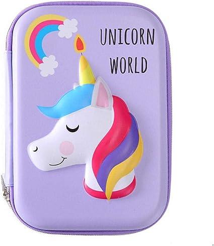 Wisilan Unicorn - Estuche para lápices (goma EVA), color verde claro, color morado 16.2 * 23.2 * 4.5cm: Amazon.es: Oficina y papelería