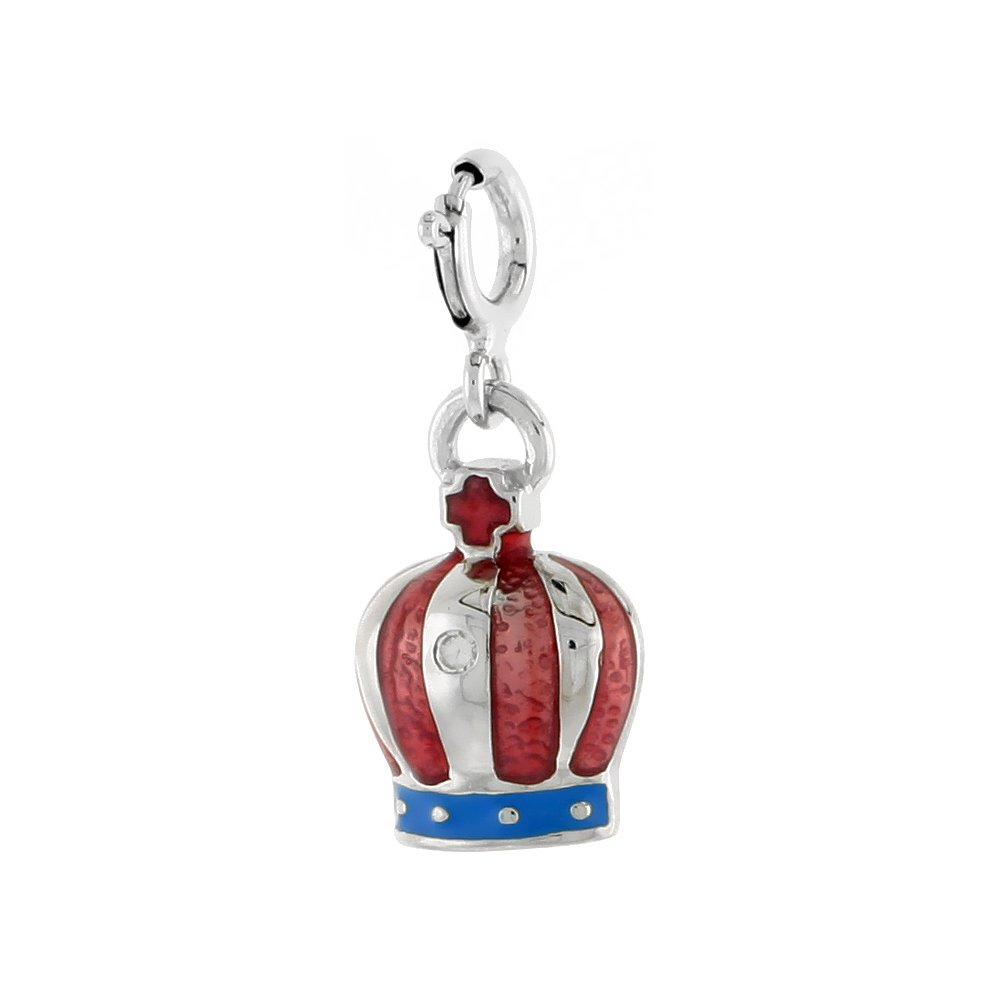 Red and Blue Enamel /& CZ stone Sterling Silver Crown Pendant 5//8 inch 16 mm