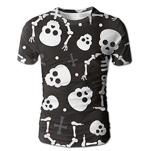 HenSLK Men's Summer Death Skull Halloween Skeleton Casual Novelty Crew Neck Short Sleeve Shirt Gift ()