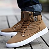 Hot Male Fashion Spring Autumn Men Casual High Top Shoes Canvas Sneakers Leather Shoes Size 12 Brown