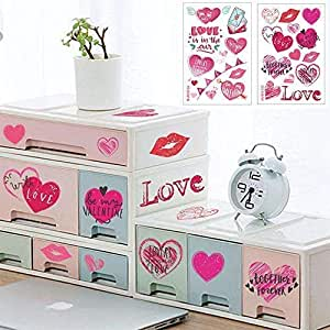 52 PCS Valentines Day Wall Love Hearts Wall Stickers -Romantic Red Love Heart Decorations Art Home Decal Supplies for Wedding Valentines Bedroom Decoration (4 Sheets)