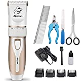 HBPET Professional Pet Hair Clippers with Comb Guides for Dogs Cats and Other House Animals, Low Noise Rechargeable Cordless Electric Queit Hair Clippers Set for Dog Cat
