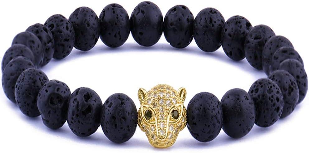 Pulsera De Piedra De Lava, Moda Zorros Guapo Negro Cabeza Bian Roca Volcánica Cordón Brazalete Elástico Ajustable, Puños con Reborde Unisex Joyas Pulsera De Oro del Festival De La Amistad Regalo