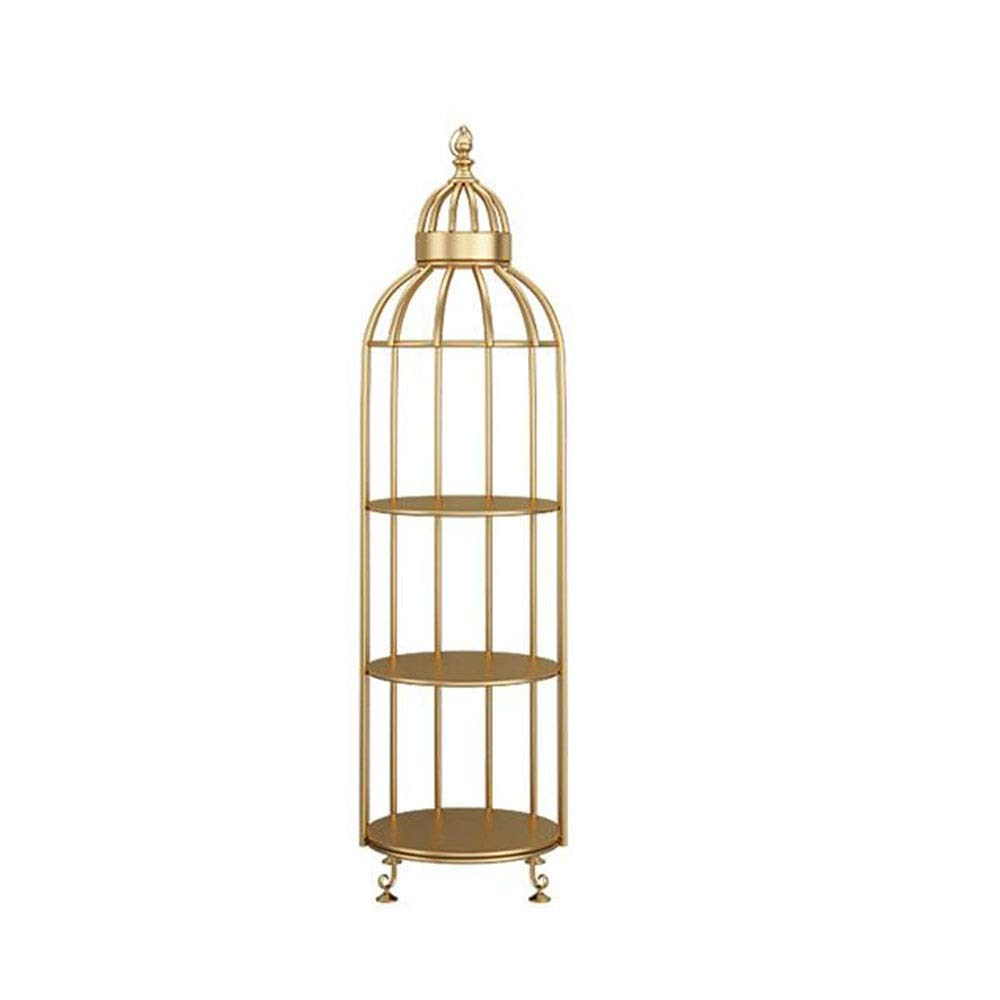 A 15.7415.7455.90in JCAFA Shelves Bookshelf Bird Cage Rack Wrought Iron Metal Frame Vintage Floor Stand Living Room Bedroom Decoration, Nordic (color   A, Size   12.59  12.59  53.54in)