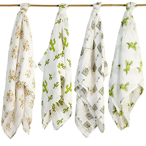 Baby Swaddling Blankets Organic SILKY SOFT Muslin Cotton Bamboo - Exclusive Prints - Boys Girls Unique Gift Box - Unisex Adam & Elsa 4 Pack (Brown Green Yellow Fall Tress Frog Cactus Birdcage) (Brown Green Frogs)