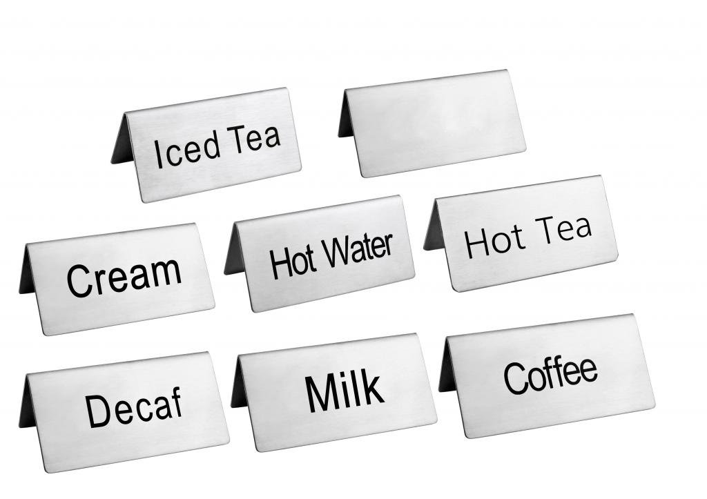 New Star Foodservice 27402 Stainless Steel Table Tent Sign Combo, Includes''Coffee'',''Decaf'',''Hot Tea'',''Iced Tea'',''Hot Water'',''Milk'',''Cream'',and Blank, 3-Inch by 1-1/2-Inch, Combo Set of 8 by New Star Foodservice