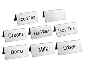 "New Star Foodservice 27402 Stainless Steel Table Tent Sign Combo, Includes""Coffee"",""Decaf"",""Hot Tea"",""Iced Tea"",""Hot Water"",""Milk"",""Cream"",and Blank, 3-Inch by 1-1/2-Inch, Combo Set of 8"