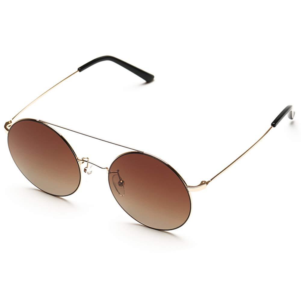 ビズアイ サングラス樹脂、TS、レトロ丸型フレーム、ダブルビームデザイン、亜鉛メッキ金属フレーム、男性と女性の傾向 眼の保護用サングラス (Color : Brown)  Brown B07TBZBGNC