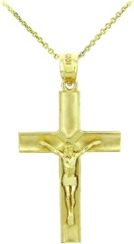 Solid 14k Yellow Gold Redeemer Cross Charm Crucifix Pendant Necklace