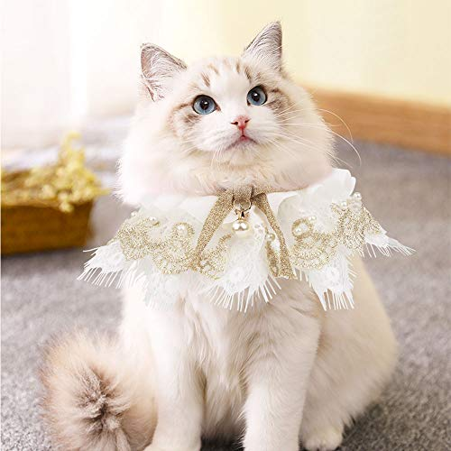 AriTan Pet Bandana Costume, Cat Lace Apparel Triangle Scarf Accessories, Dress up Lace Breathable Bibs for Small and Medium-Sized
