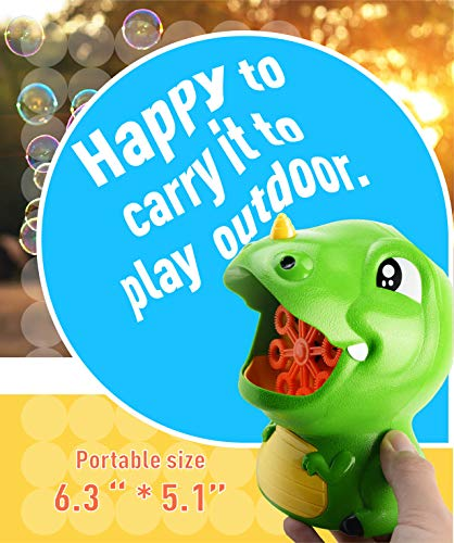 Gasince Bubble Machine Dinosaur Bubble Blower 500+ Bubbles Per Minute Automatic Bubble Maker Toddlers Boys Girls Birthday Party Bubble Machine for Kids Outdoor Activities