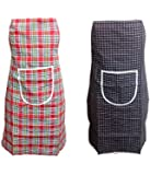 Khushi Creation Cotton Waterproof Kitchen Apron with Front Pocket Set of 2 Pcs(Colore as per Availability)