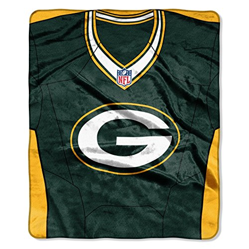 Green Bay Packers 50x60 NFL Jersey Design Royal Plush Raschel Throw (Packers Uniforms)