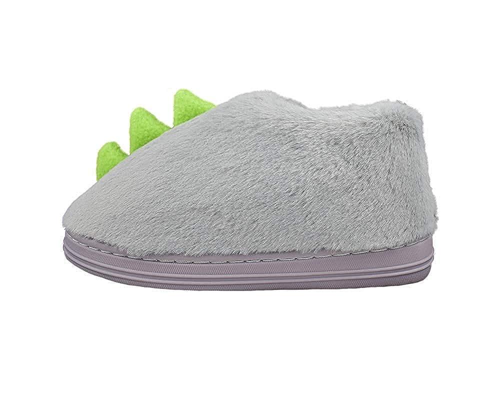 Kids Girls Warm Plush Dinosaur Slippers Hard Sole Cute Animal Indoor Outdoor