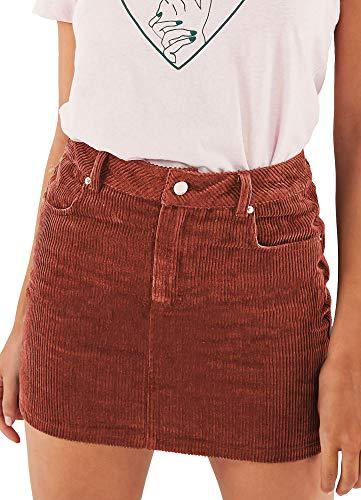 just quella Women Slim fit Corduroy A-line Short Skirt High Waist Boydon Mini Skirt (XS, Rust) ()