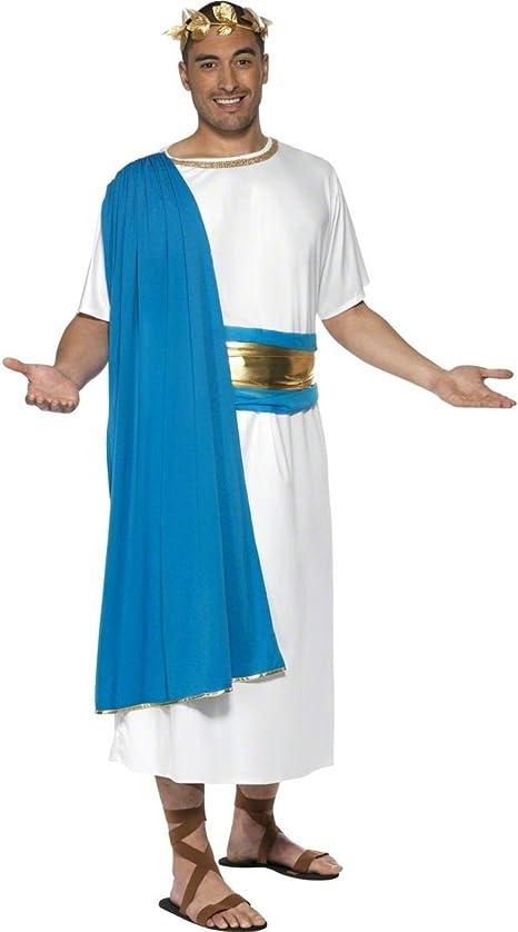 Disfraz romano azul-blanco M 48/50 disfraz Senador romano para ...